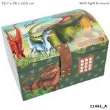 Dino World schatkist met code, geluid en licht_