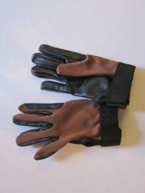 Handschoen leer/stof bruin/zwart