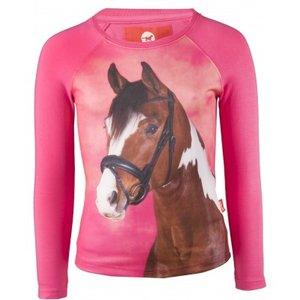 Longsleeve Red Horse Pixel Rose Pink