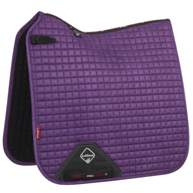 LeMieux Luxury Dressage Suede squares: Blackcurrent