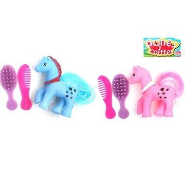 Kleine speelgoedpony met borstel
