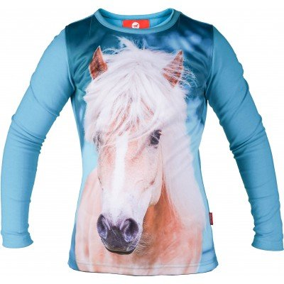 Longsleeve Red Horse Pixel Turquoise