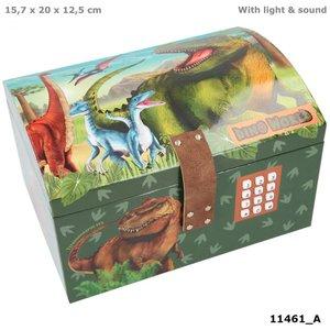 Dino World schatkist met code, geluid en licht